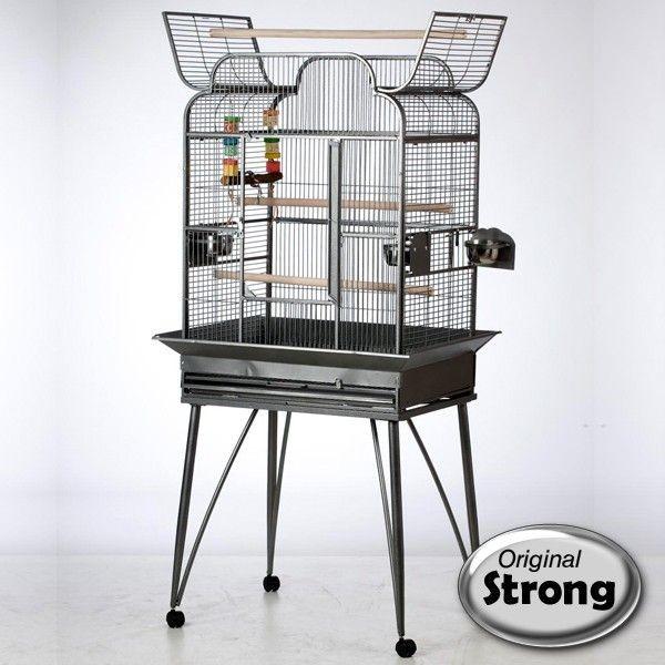 Cage métal petites perruches Andrea, Couleur: Gris anthracite