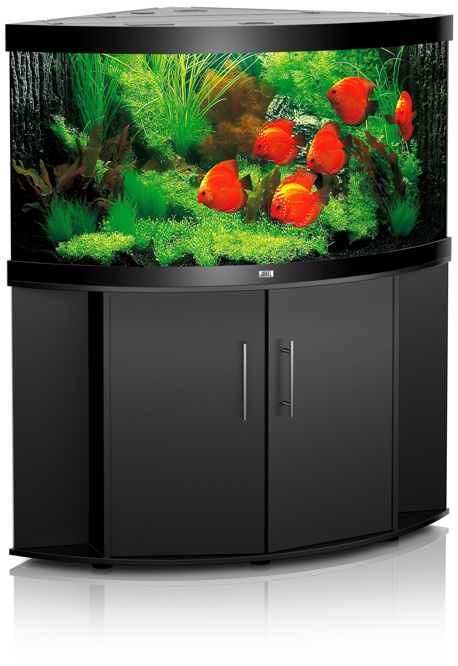 Aquarium d'angle Trigon 190 noir + meuble