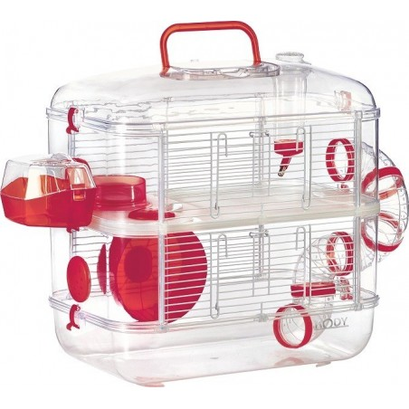 Cage rongeurs RodyLounge Duo Cerise