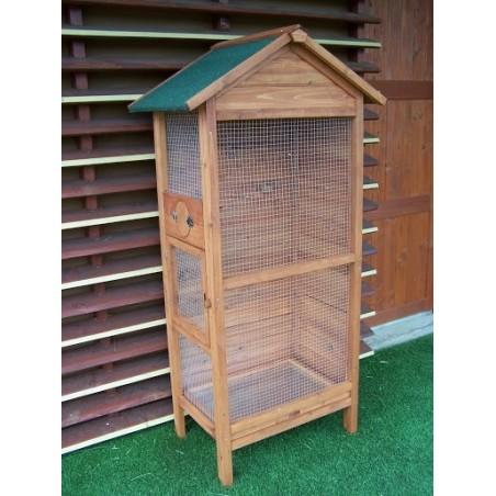 Cage à oiseaux bois teinté Ht. 158 cm