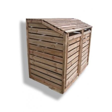 Cache poubelle bois double Lg. 150cm