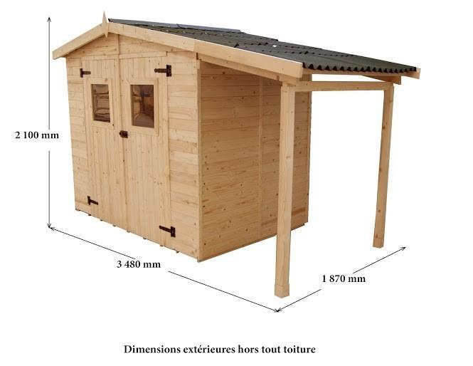 Abri + appenti bois 16mm: 5 + 2 m², Variante: Avec montage