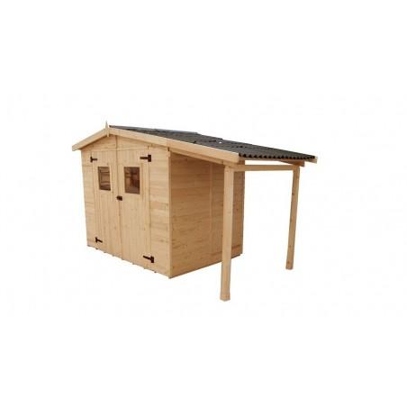 Abri + appenti bois 16mm: 5 + 2 m²