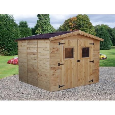 Abri double porte bois 16mm - 7.2 m²