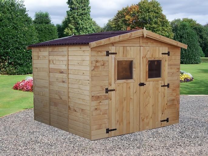 Abri double porte bois 16mm - 7.2 m², Variante: Avec montage