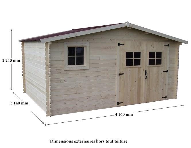 Abri bois Madriers massifs 28mm 13 m², Variante: Avec montage