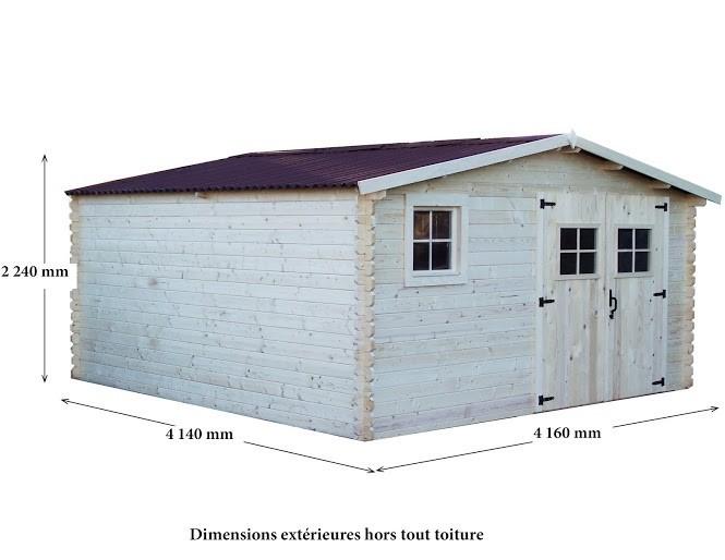 Abri bois Madriers massifs 28mm 17 m², Variante: Avec montage