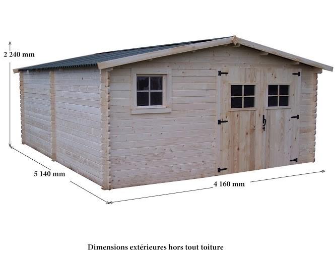 Abri bois Madriers massifs 28mm 21 m², Variante: Avec montage