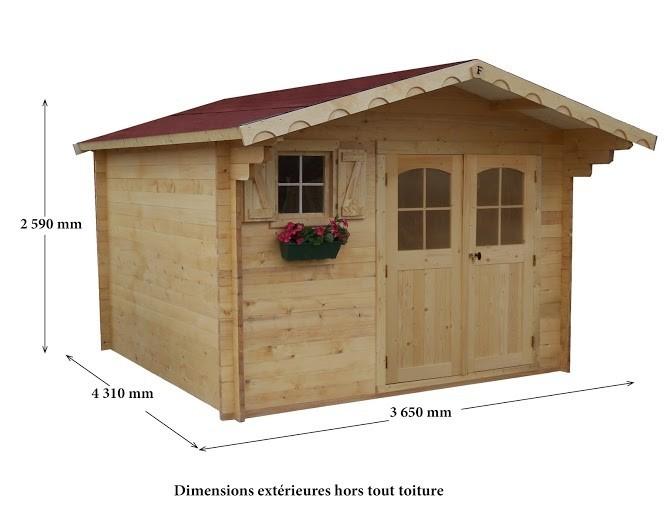 Abri Madrier bois massif 42mm 15.7 m², Variante: Avec montage