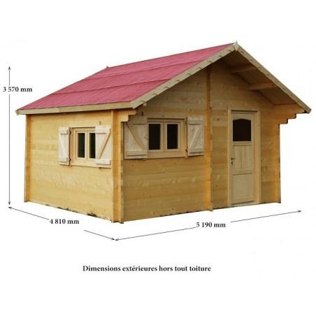 Abri bois 60mm double vitrage 24.96 m²
