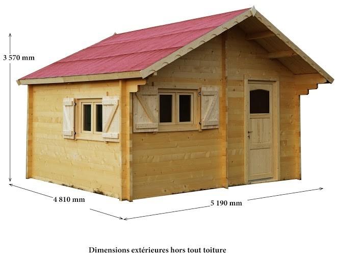 Abri bois 60mm double vitrage 24.96 m², Variante: Avec montage