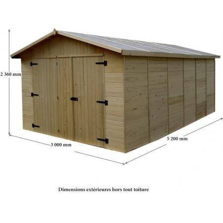 Garage panneau bois 16mm - 15.6 m²