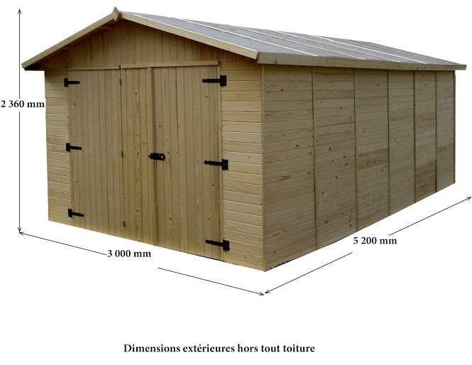 Garage panneau bois 16mm - 15.6 m², Variante: Avec montage