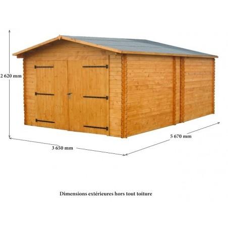 Garage Madriers massifs 28mm 20.7 m²