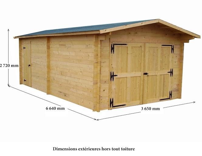 Garage Madriers massifs 42mm 24 m², Variante: Avec montage
