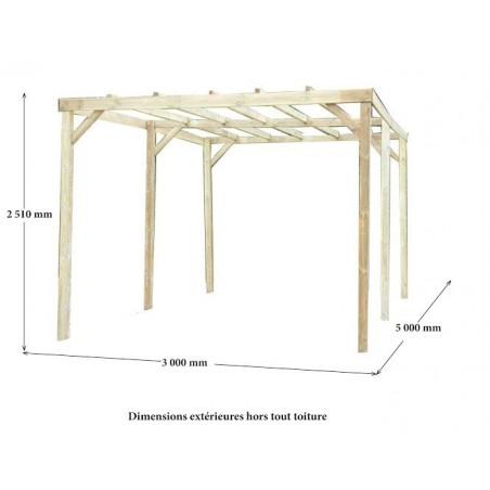 Carport toit plat sans couverture 3x5 m