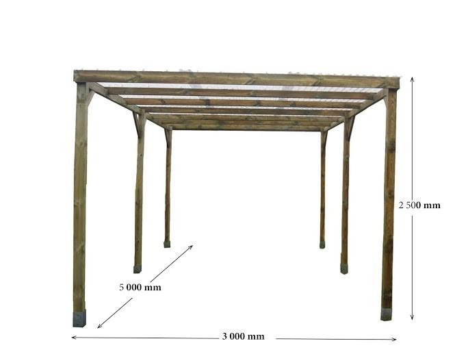 Carport Autoclavé toit plat 15 m²