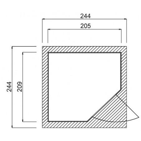 Abri d'angle Quinta Weka 21mm - 5.95m²