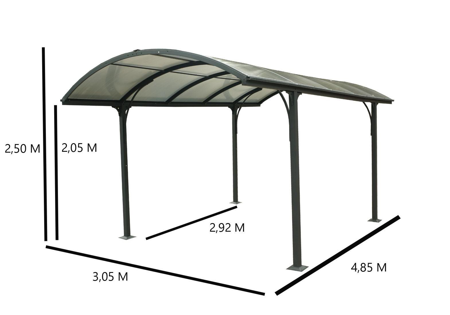 Carport aluminium toit 1/2 rond gris anthracite, Variante: Avec montage