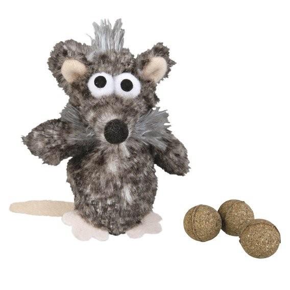 Jouet chien: Rat avec balles catnip 11cm