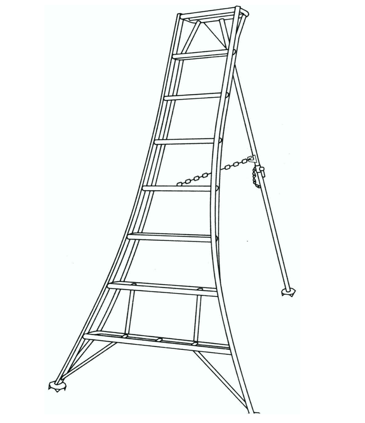 Tripod (trépied) pour la taille du jardin, Modèle: 1 Pied réglable arrière / Hauteur 4.20 m