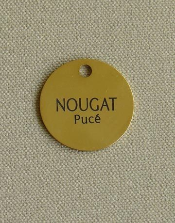 Medaille chien ou chat ronde en laiton, Diamètre: 16 mm, Gravure motif: Sans