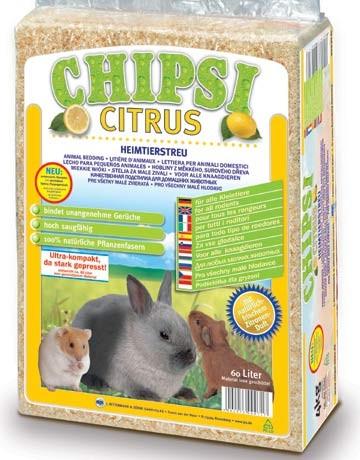 Litière copeaux Chipsi Citrus parfumée, contenance: 60 l - 3.6 kg