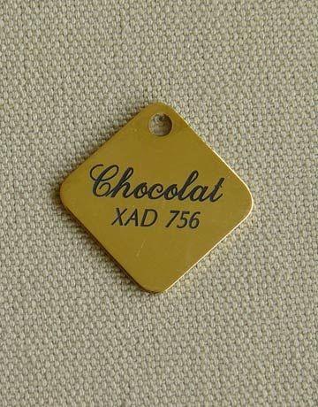 Medaille laiton carrée pour chien ou chat, Gravure motif: Sans