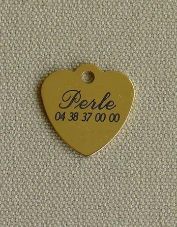 Medaille laiton coeur pour chat ou chien, Taille: Petite, Gravure motif: Sans