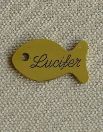 Medaille pour chat en laiton poisson, Gravure motif: Sans
