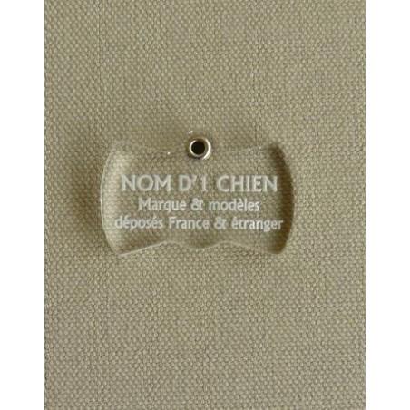 Medaille pour chien transparente noeud papillon