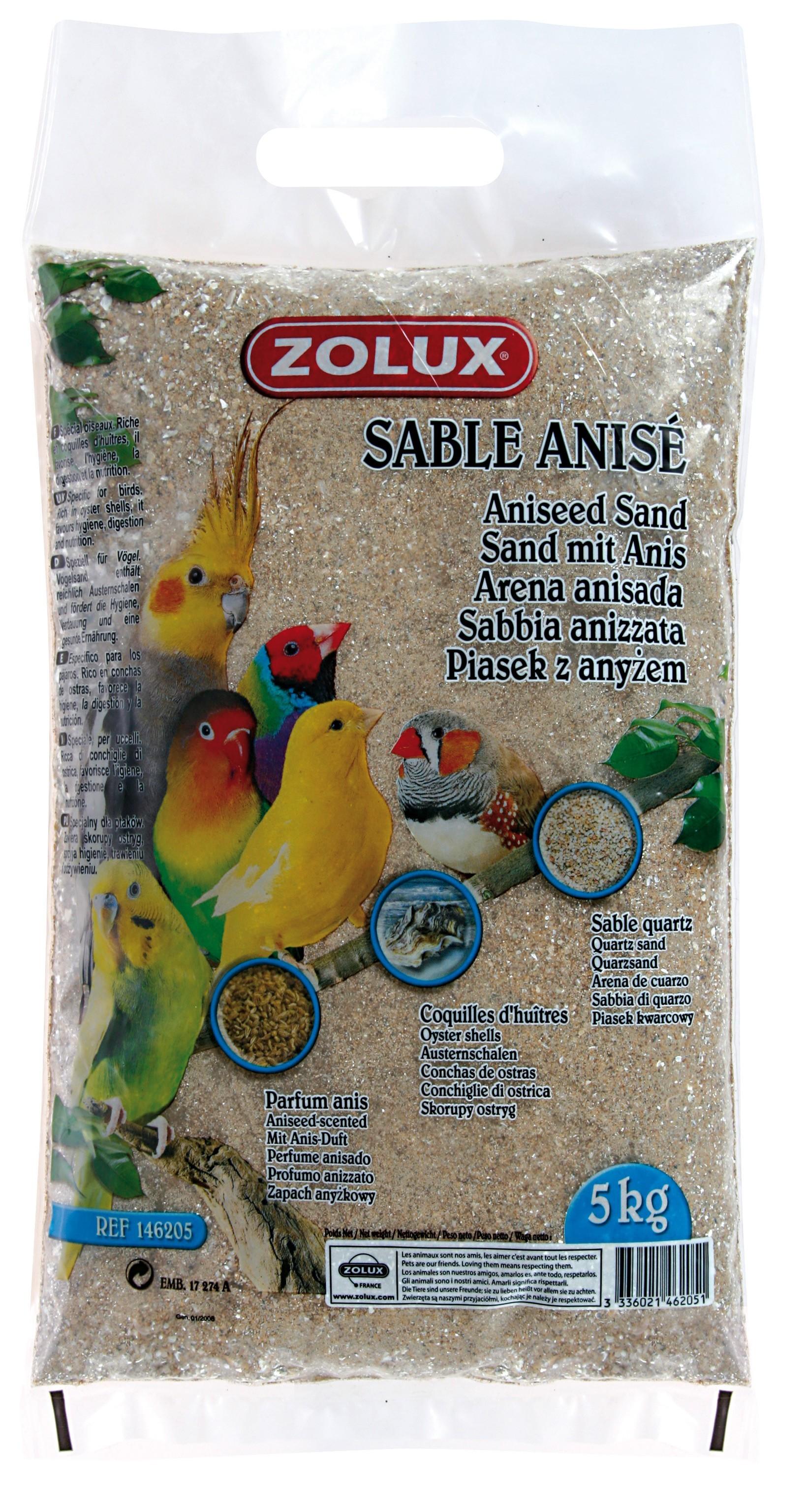 Sable Anisé : Litière fond de cage, contenance: sac 5 kg