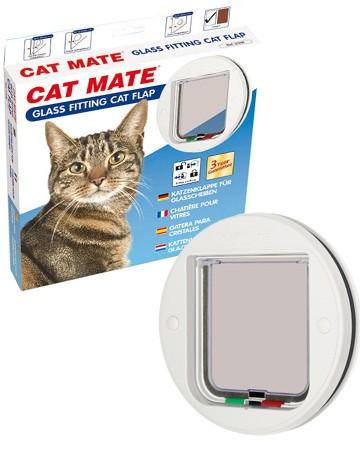 Chatiere Cat Mate ronde pour vitre 4 positions, Couleur: Blanche