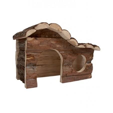 Chalet en rondin de bois pour lapins et chinchillas