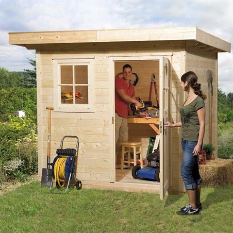 Abri de jardin bois Type 170 28 mm + Plancher, Taille: Taille 1 (10.7 m3)