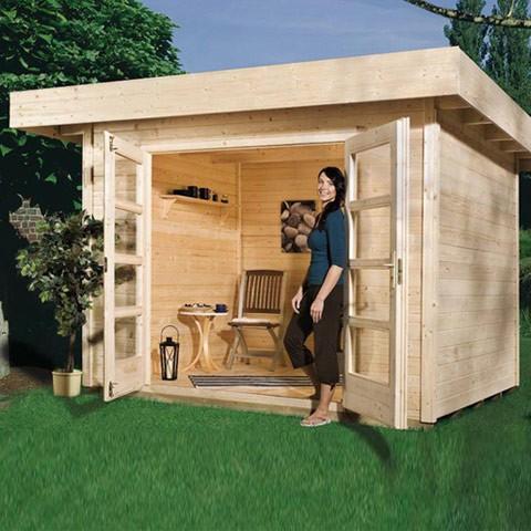 Abri de jardin bois madriers New Design 28 mm + plancher, Taille: Taille 1 (13.6 m3)