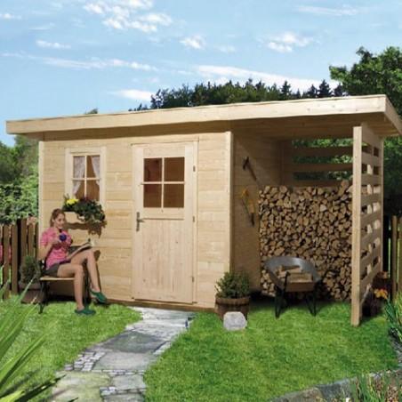 Abri de jardin bois 28 mm avec lieu de stockage