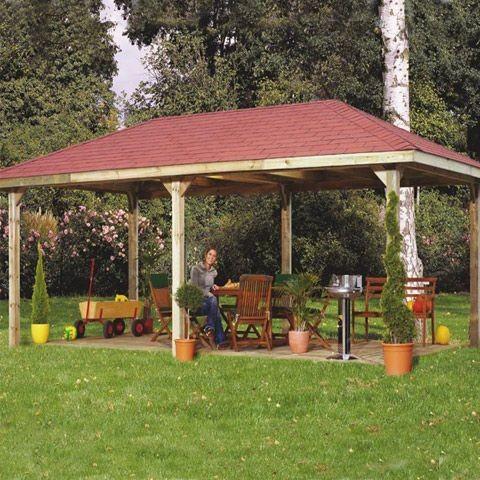 Tonnelle de jardin Vario Weka Bardeaux Rouges, Taille: XXL - Ancrage en H offert