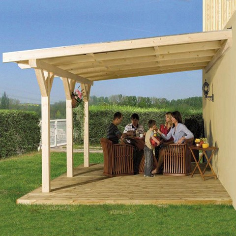 Pergola Weka lamellé-collé + toit polycarbonate, Taille: Taille 5 (24.55 m )