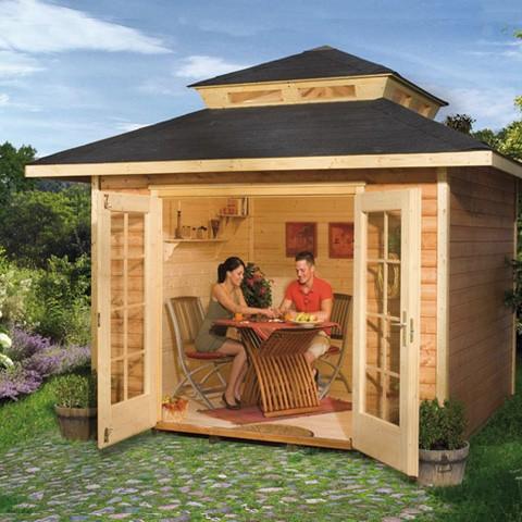 Abri de jardin bois Mediterrana carré 28 mm - Plancher, Taille: T2 ss surélévation 21.7 m3