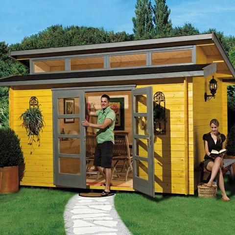 Abri de jardin bois 28 mm + Plancher, Taille: Avec 4 impostes (27.4 m3)