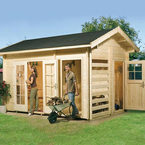 Abri de jardin stockage bois - Madriers 28 mm, Taille: Multifunktion 36.3 m3